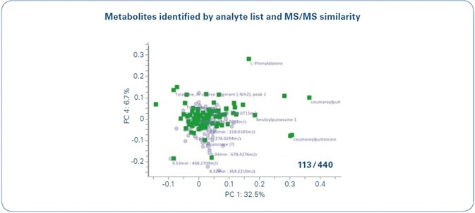 Metabolite identification and annotation in MetaboScape. 13 out of 440 buckets were annotated in this work. 96 buckets were assigned based on Analyte Lists and 17 could be assigned as HCCAAs by MS/MS similarity analyses. To visualize that these 113 metabolites correspond to the main PCA loadings relevant in this study (see Figure 1), all annotated loadings are highlighted in green in the PC1 vs. PC 4 loadings plot.