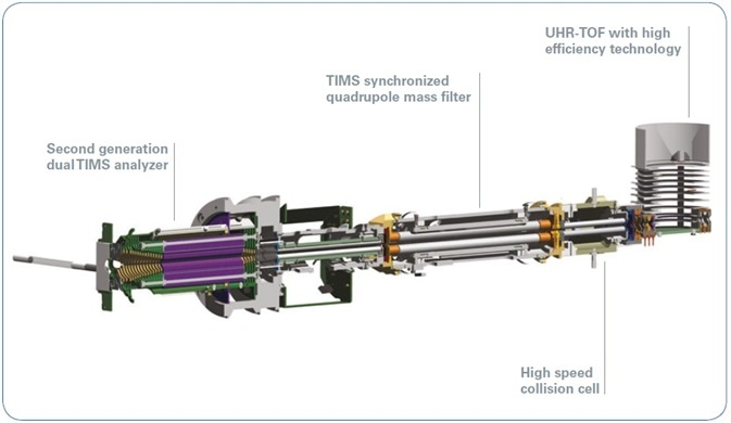 Ion optics of the timsTOF Pro instrument including a dual TIMS analyzer and QTOF mass spectrometer.