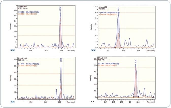 MRM chromatograms for selected PCBs at 0.1 ppb level (100 femtogram on-column).