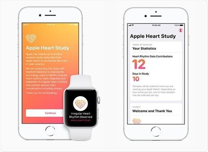 Gli esempi delle notifiche che i partecipanti al cuore di Apple studiano ricevono. Cortesia di Apple