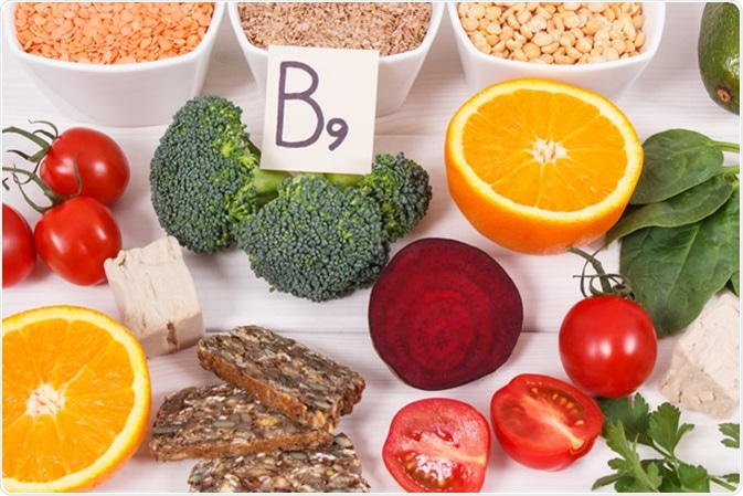 Food containing folic acid / vitamin B9, dietary fiber, natural minerals and folic acid. Image Credit: ratmaner / Shutterstock