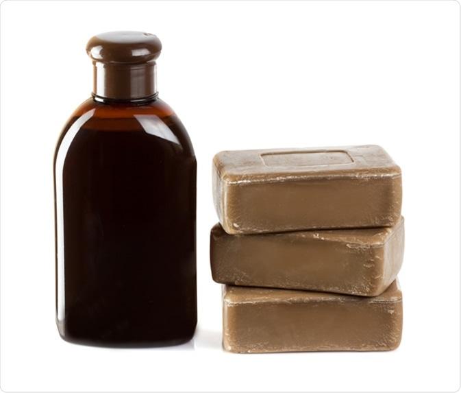 Birch coal tar soap and shampoo. Image Credit: SimpleName / Shutterstock