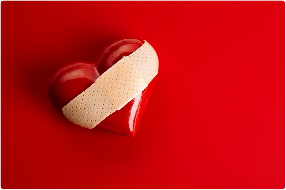 Broken heart syndrome - an abstract image of a heart with a plaster.