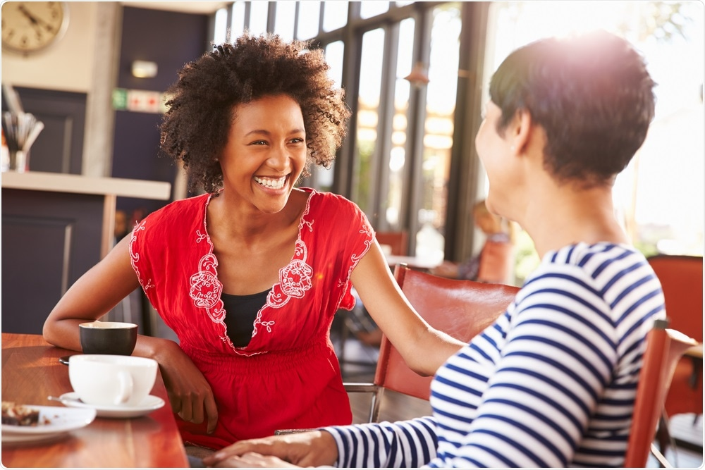 Two women talking at a coffee shop - an example of emotional mimickry