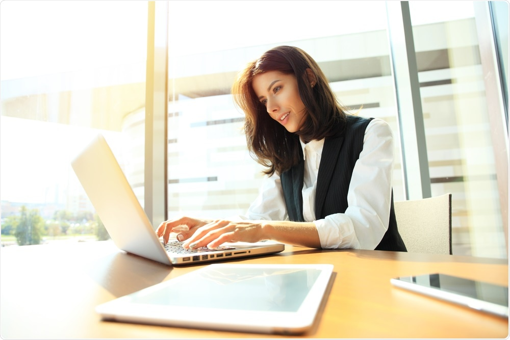 Woman working at office desk