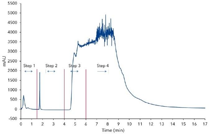 Sample loading on SPE column, 10 mL sample, step 1 - conditioning, step 2 - re-equilibration, step 3 - sample loeading, step 4 - washing