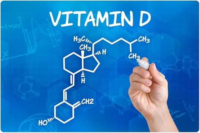 Chemical formula of vitamin D. Image Credit: Zerbor / Shutterstock