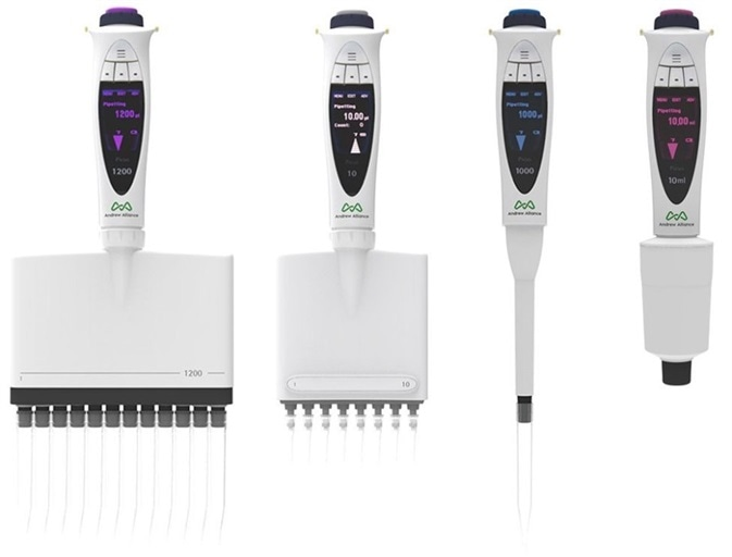 Andrew Alliance single and multichannel Bluetooth electronic pipettes