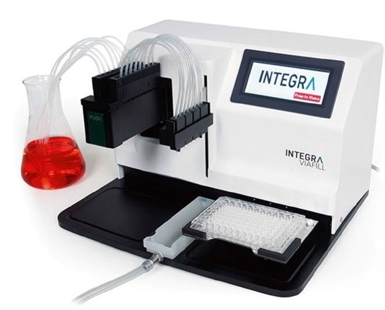 Microplate dispenser for uniform cell seeding.