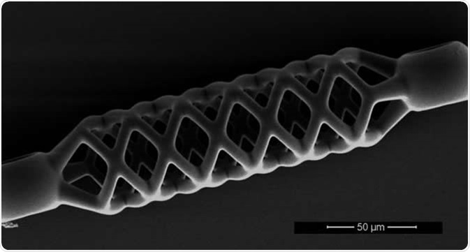 This microstent is just 50 micrometers (0.05 mm) wide and half a millimeter long. Image Credit: De Marco et al, Adv Mater. Techn. 2019; ETH Zurich