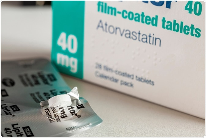 Atorvastatin statin medication prescribed to reduce choleserol. Image Credit: riccar / Shutterstock
