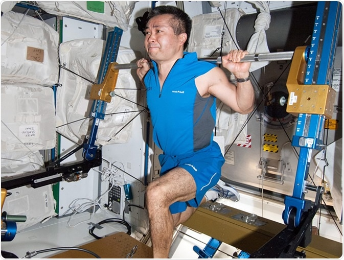 Astronauts on the International Space Station maintain their health in the absence of gravity