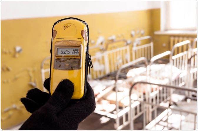 Geiger counter showing high levels of radiation
