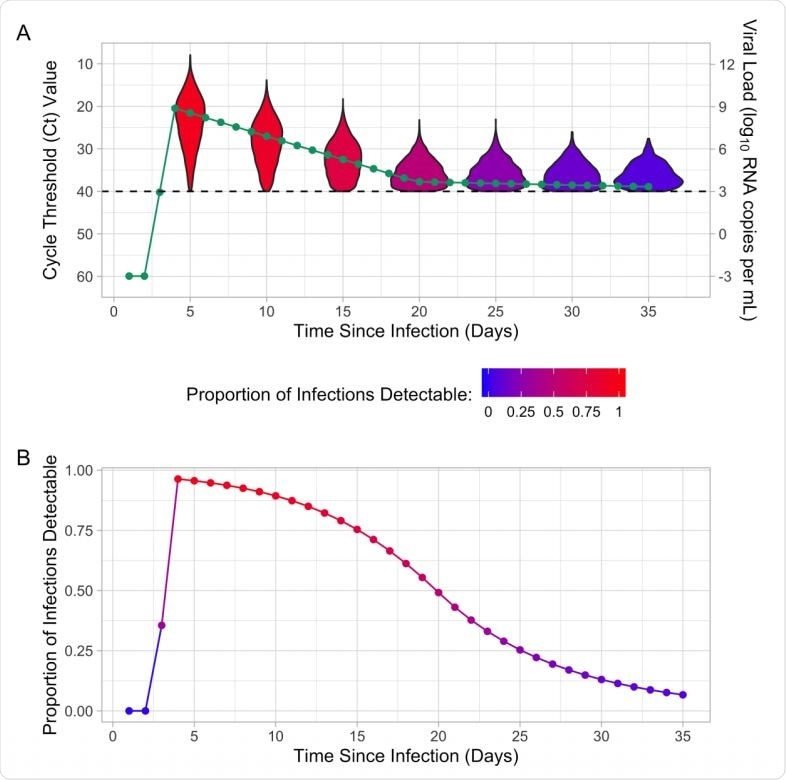 (A) Mean cycle threshold (Ct) value, mean viral load, and distribution of Ct values for detectable infections by time since infection. (B) Proportion of infections that are detectable by time since infection for the population-level Ct distribution. The proportion of infections that are detectable is indicated by the color of the violin plot and the proportion detectable line. The dashed line indicates the limit of detection (Ct value of 40 or viral load of 3).