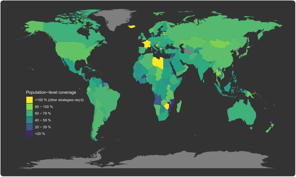 Global target vaccination coverage under uniform vaccination policy. Map of the minimum target vaccination coverage required to achieve herd immunity under uniform vaccine allocation programs. Countries coloured bright yellow are incapable of achieving herd immunity through vaccination alone (i.e., their minimum coverage thresholds exceed 100%).