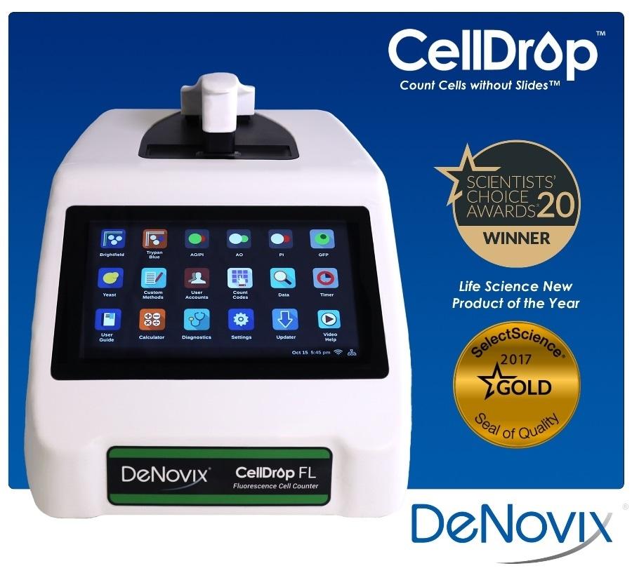 DeNovix CellDrop automated cell counter receives second major accolade of 2020