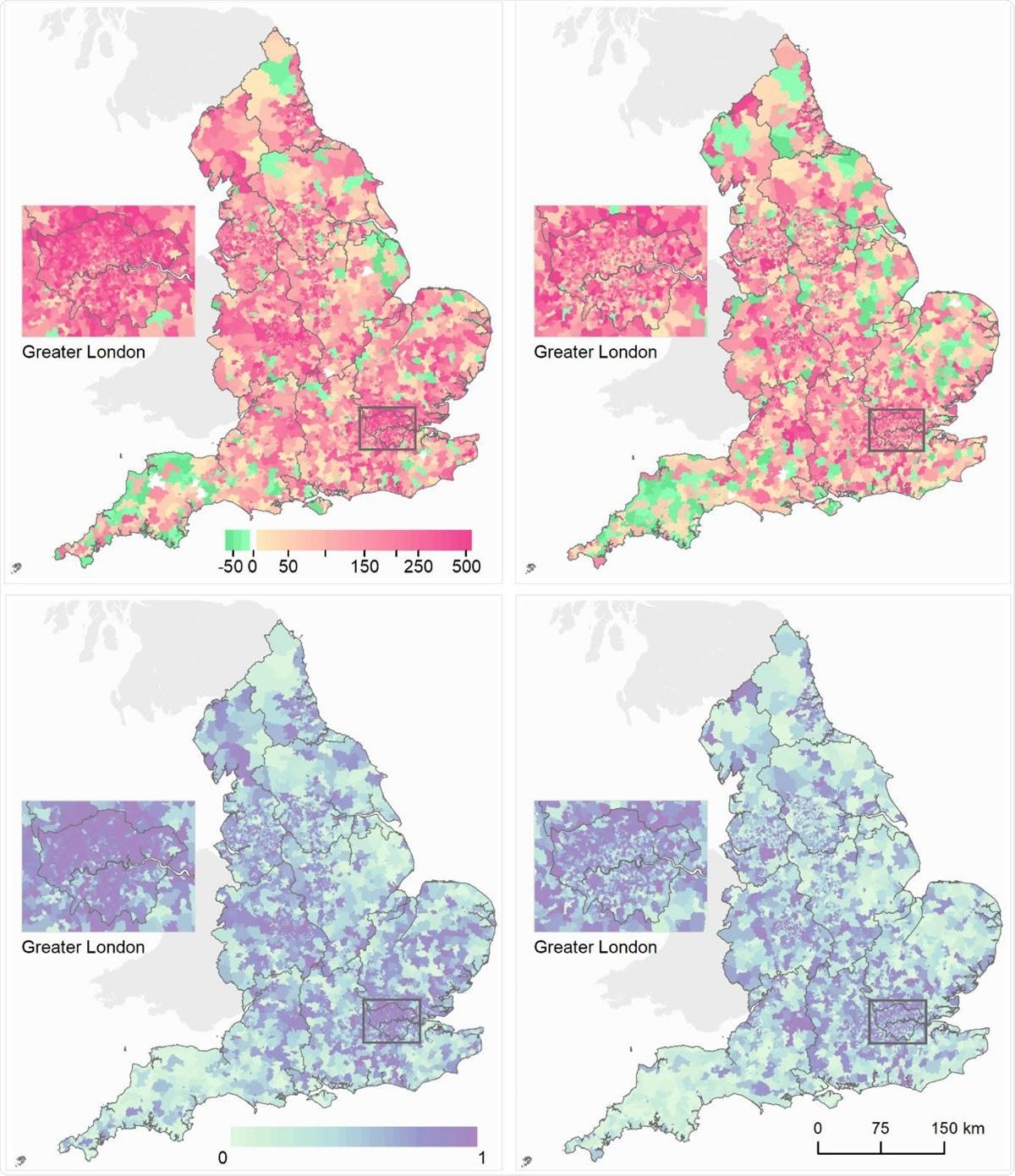Os mapas de áreas de saída super médias em Inglaterra que mostra mortes adicionais por 100.000 povos envelheceram 40 anos e sobre. (a) As mortes adicionais por 100.000 homens (deixados) /females (direito) compararam do 1º de março ao 31 de maio de 2020 ao mesmo período pelos cinco anos de precedência. (b) Probabilidade traseiro essa mortes adicionais > 0. As características da comunidade do MSOAs eram: % da população no apoio de renda; densidade populacional; % da população não-Branca; % da população que vive em HOME abarrotado; poluição do ar (NO2 e PM2.5); HOME do cuidado pela população 1.000. Nós traçamos a probabilidade traseiro que mede a extensão a que uma avaliação do excesso/menos mortes é provável ser um aumento/diminuição verdadeiros. Onde a distribuição traseiro inteira de mortes adicionais calculadas para um MSOA é maior de zero, há uma probabilidade traseiro de ~1 de um aumento verdadeiro, e inversamente onde a distribuição traseiro inteira é menos de zero há uma probabilidade traseiro de ~0 de um aumento verdadeiro. Esta probabilidade traseiro seria ~0,5 em um MSOA em que um aumento é estatìstica indistinguível de uma diminuição.