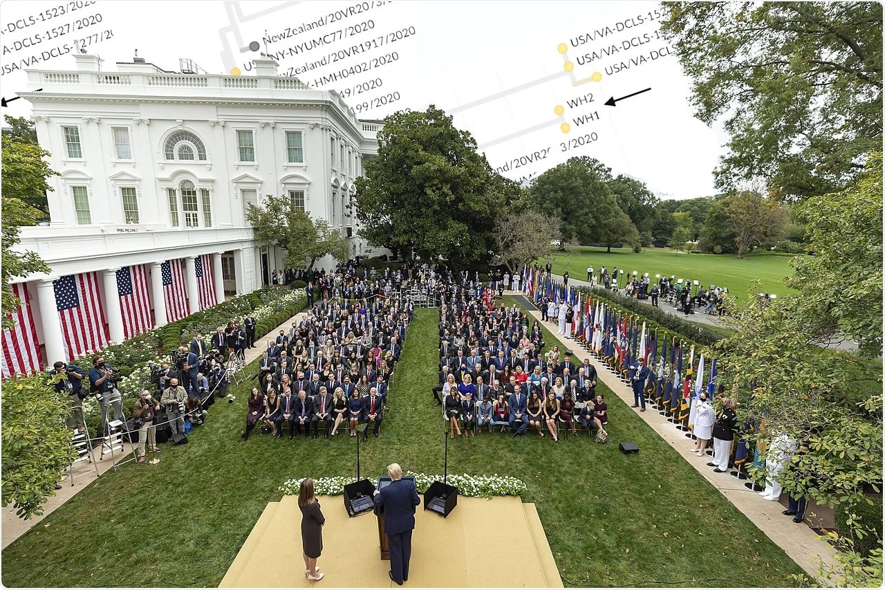 President Donald J. Trump announces Judge Amy Coney Barrett as his nominee for Associate Justice of the Supreme Court of the United States Saturday, Sept. 26, 2020, in the Rose Garden of the White House. (Adapted from Official White House Photo by Amy Rossetti)
