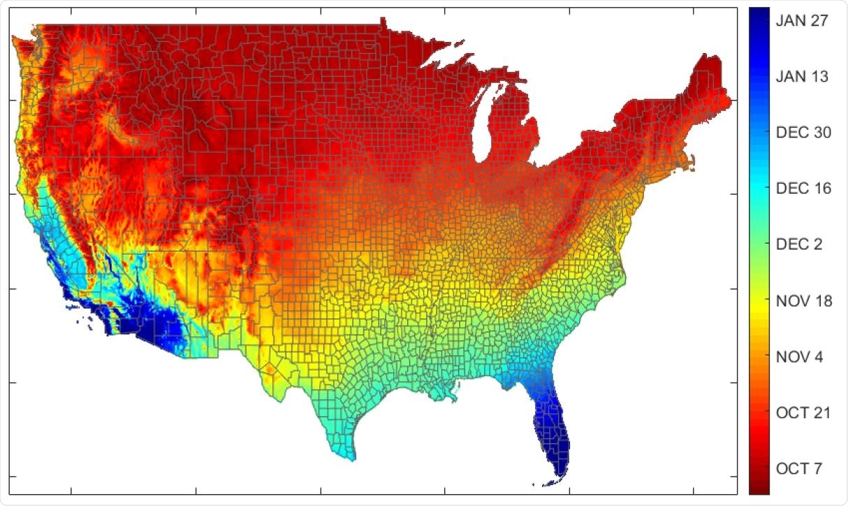 Expected date by U.S. county for entering 5-10°C range (30-year average).