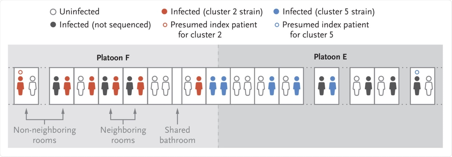 Local Transmission of SARS-CoV-2 during Quarantine. Participants who were associated with the two largest transmission clusters (clusters 2 and 5) were identified by means of sequencing and were either roommates or members of the same platoons, which indicates that double-occupancy rooming and shared platoon membership were important contributors to transmission. Other infected members of these platoons whose samples were not sequenced may have been infected with the same cluster strains. One recruit in each platoon was found to be infected at the beginning of quarantine and represents the potential source of each cluster strain.