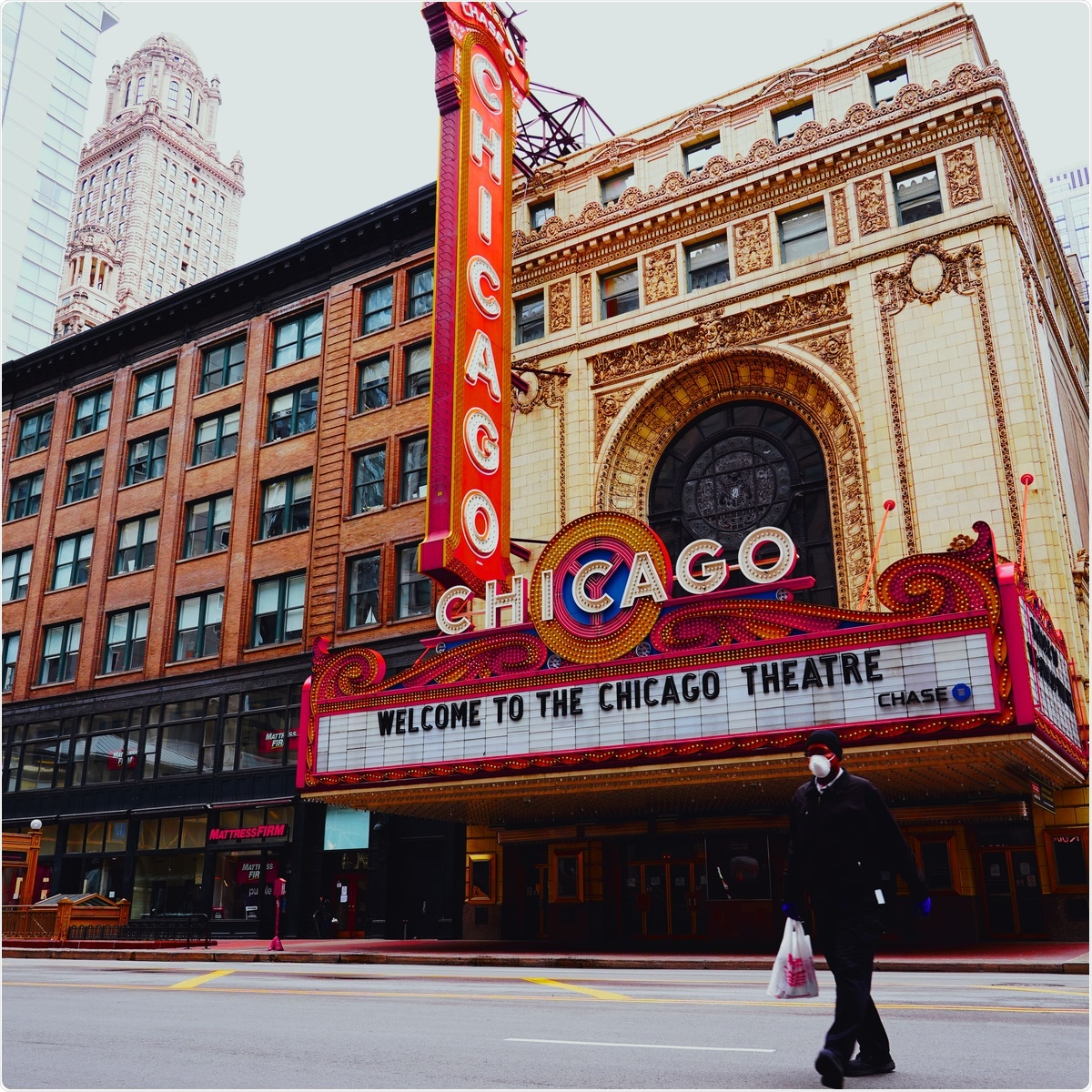 Chicago - April 4, 2020: Chicago theater building with a man wearing a mask walking by during the coronavirus pandemic. Image Credit: iwonder TV / Shutterstock.