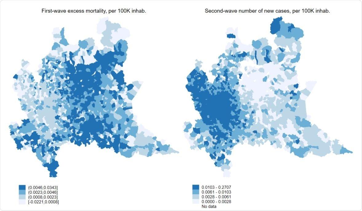La distribución geográfica de primero comparado con segundo COVID19 agita