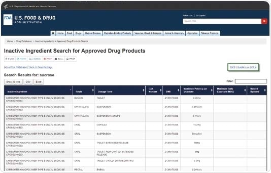 FDA website (www. fda.gov) offers information about excipients approved for use in drug formulations.