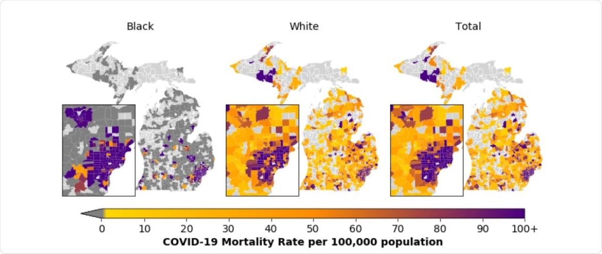 Tasas de mortalidad COVID-19 por la población 100.000 entre los residentes blancos y negros de Michigan y los residentes de Michigan totales por área de la tabulación del código postal. La tasa de mortalidad por la población 100.000 coloca a partir de la 0 (amarillo) a 100+ (púrpura). La tasa de mortalidad más alta por la población 100.000 es 5263. Las regiones gris oscuro indican las áreas de la tabulación del código postal donde ocurrieron ningunas muertes COVID-19 para una carrera determinada y las regiones grises claras indican las áreas de la tabulación del código postal donde ocurrieron ningunas muertes relacionadas COVID-19. Estas tasas de mortalidad se basan en 6027 muertes COVID-19 entre los residentes de Michigan extendidos a través del estado entre el 16 de marzo y el 26 de octubre de 2020, de los cuales 5809 individuos son blanco o negro. El total incluye a los individuos de todas las carreras. El mapa de inserción representa la zona metropolitana y el pedernal de Detroit.