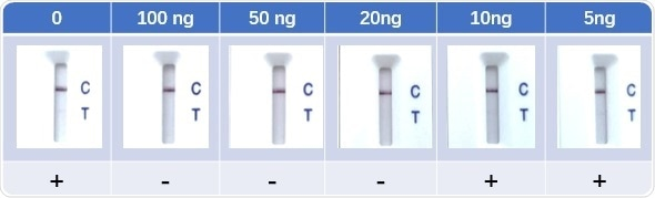 Lateral Flow Assay with spike-in neutralizing antibody serum samples (Cat No. SPD-M128). The anti-mouse IgG and RBD-his protein were coated to the control line and test line respectively. Colloidal gold labeled ACE2 and mouse IgG were immobilized in conjugate release pad.