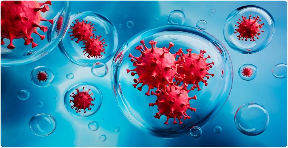 Coronavirus particles in aerosol droplets