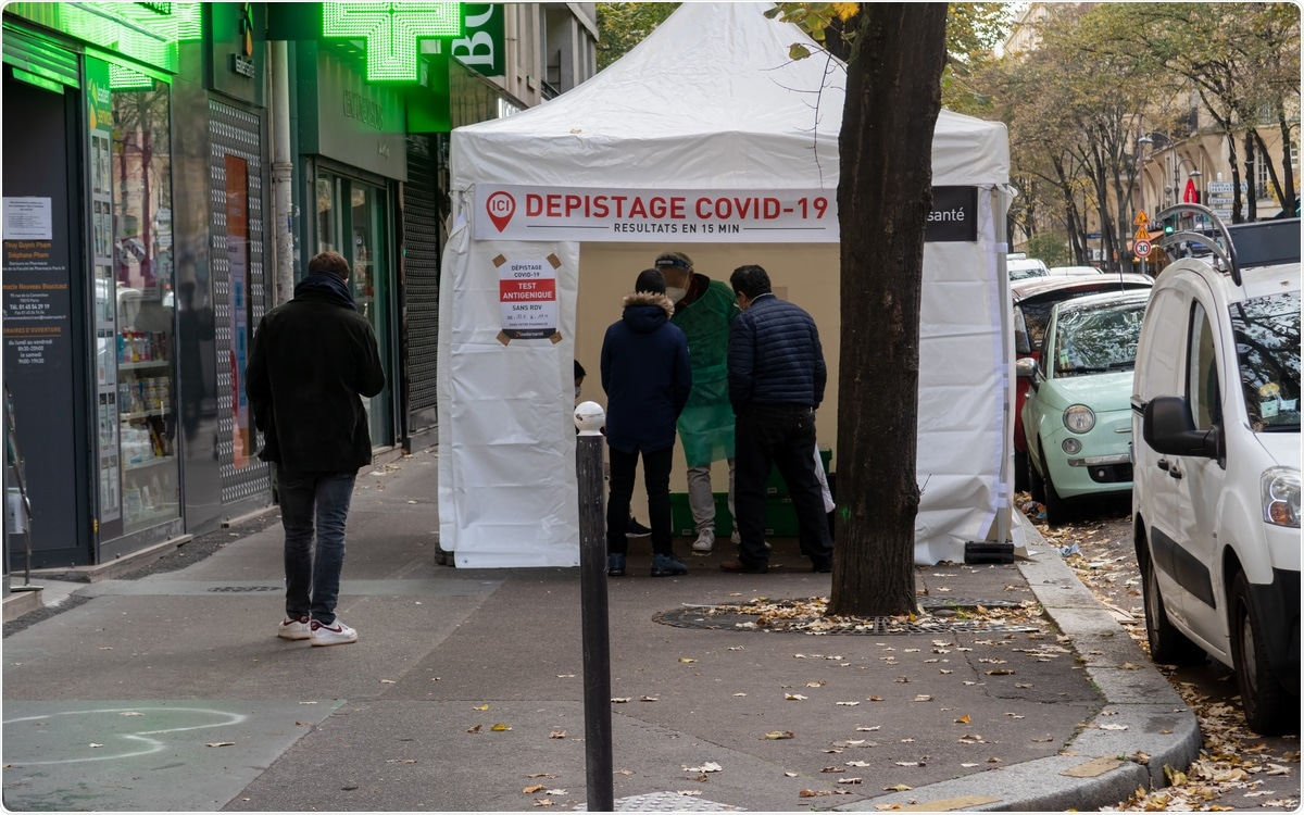 Paris, France - November 13 2020: Covid-19 Rapid testing medical tent in front of a pharmacy. Image Credit: UlyssePixel / Shutterstock