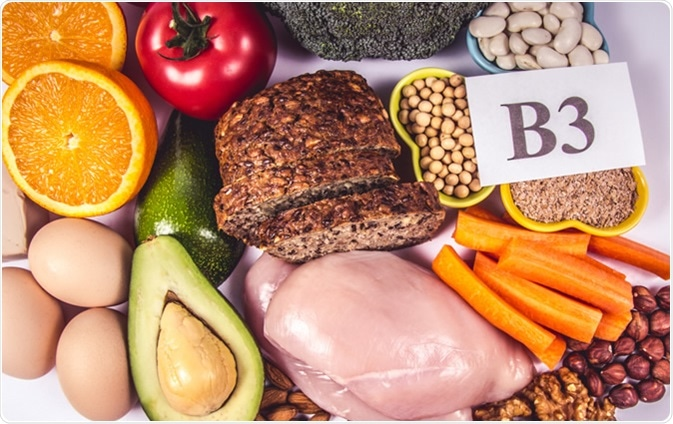 Foods containing vitamin B3 (PP, niacin) and other natural minerals, Image Credit: Morisfoto / Shutterstock
