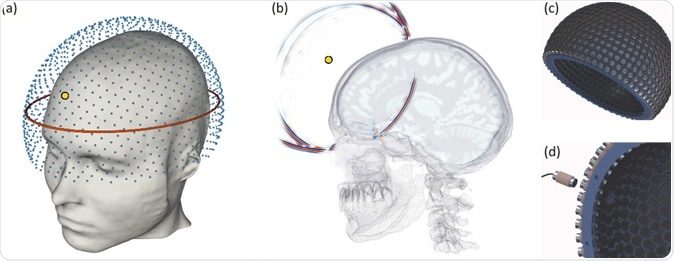 How the prototype helmet could image the brain. Image Credit: Imperial College London