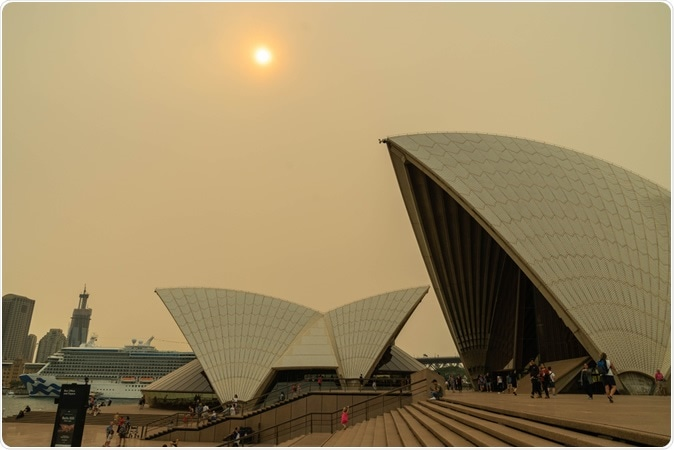 The sky and the sun over the Opera House were covered by heavy red smoke from bushfire, Australia 7-12-2019/ Image Credit: Natsicha Wetchasart / Shutterstock