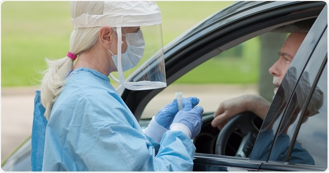 Dressed in full protective gear a healthcare worker collects a sample from a man sitting inside his car as part of the operations of a coronavirus mobile testing unit. Image Credit:  JHDT Productions / Shutterstock
