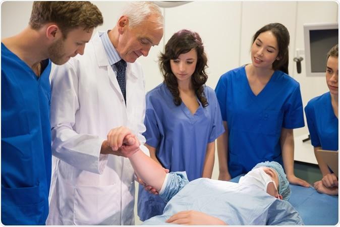 Medical students and professor. Image Credit: Wavebreakmedia / Shutterstock