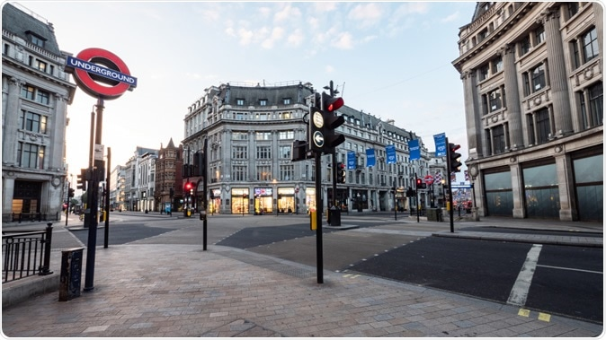LONDON, UK - 22 MAY 2018: Empty London. Oxford Circus with no traffic or pedestrians. The busy shopping district is normally gridlocked with human traffic. Image Credit:  pxl.store / Shutterstock
