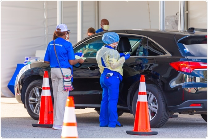 Pompano Beach, Florida/USA - March 20, 2020: Coronavirus (COVID-19) Drive-thru testing spot. Image Credit: YES Market Media / Shutterstock