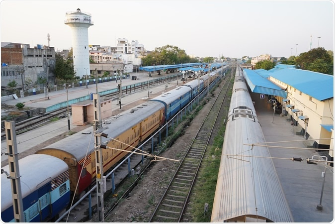AMRAVATI, MH, INDIA 22 MARCH 2020: Parked trains at Amravati railway station during curfew imposed as a preventive measure against the COVID-19, Appeal of Prime Minister Indi. Image Credit: CRS PHOTO / Shutterstock