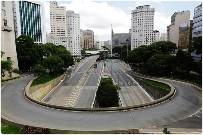 Sao Paulo, SP / Brazil - March 22, 2020: Empty streets and avenues are seen in downtown São Paulo, Brazil. Image Credit: Nelson Antoine / Shutterstock