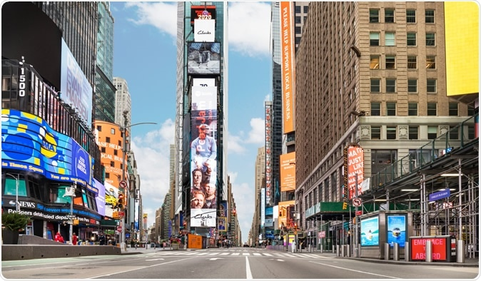 Manhattan, New York, USA - March 28, 2020: No crowds in Times Square after self-quarantine and social distancing was put in place in New York City. Image Credit: haeryung stock images / Shutterstock