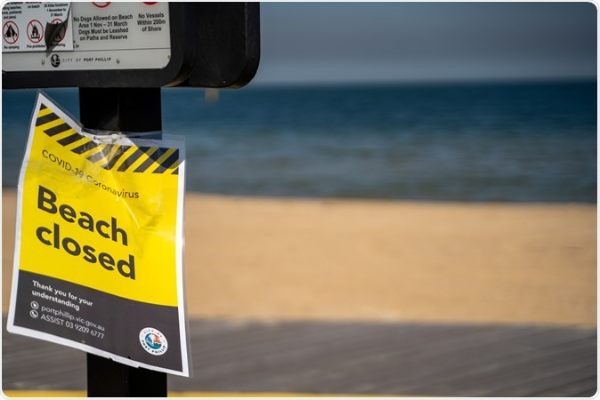 St Kilda, Victoria / Australia - April 1st 2020: Signs notifying citizens of beach closures due to Coronavirus pandemic with an empty beach in the background. Image Credit: CEA Productions / Shutterstock