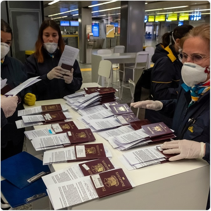 Somma Lombardo, Italy, 03/27/2020, Terminal 2 Malpensa airport during the coronavirus covid-19 outbreak. Image Credit: Marco Solbiata / Shutterstock