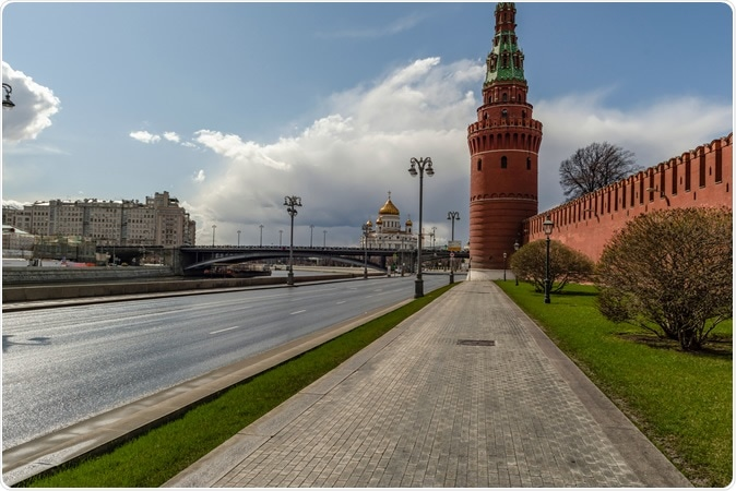 Moscow, Russia, April 5, 2020. Coronavirus Quarantine, COVID-19, in Moscow. Empty streets in the city center. Image Credit: Dmitry Bezrukov / Shutterstock