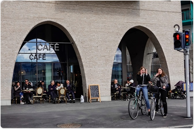 Stockholm, Sweden April 19, 2020 A popular cafe in the Sundbyberg suburb stays open during the coronavirus epidemic. Image Credit: Alexanderstock23 / Shutterstock