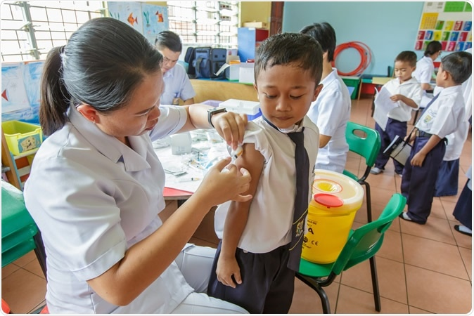 Study: Is there evidence that BCG vaccination has non-specific protective effects for COVID 19 infections or is it an illusion created by lack of testing?. Kota Kinabalu, Malaysia. Doctor vaccinating BCG at school. Image Credit: Yusnizam Yusof / Shutterstock