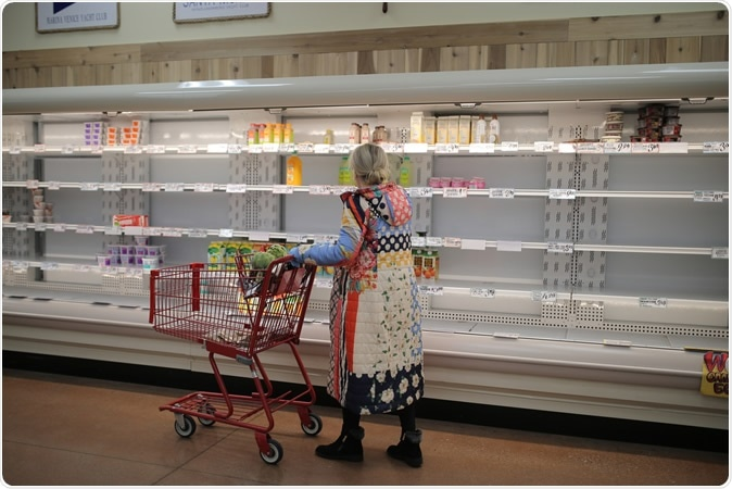 Los Angeles, CA / USA - 03.13.2020: empty shelves at grocery store in Los Angeles. Image Credit: BrittanyNY / Shutterstock