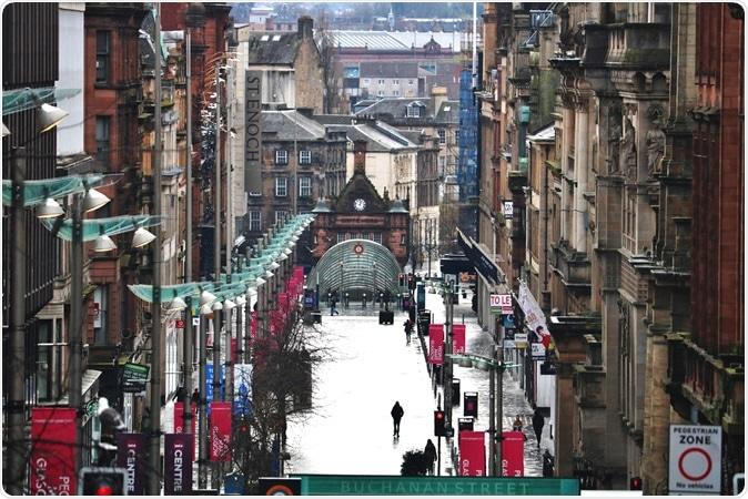 Glasgow/Escocia - 4 de abril de 2020: Calle de Buchanan del centro de ciudad de Glasgow vacía durante el Lockdown de Coronavirus Covid 19. Haber de imagen: MES y Paul/Shutterstock