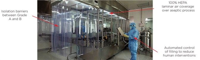 Modern aseptic liquid fill operation.