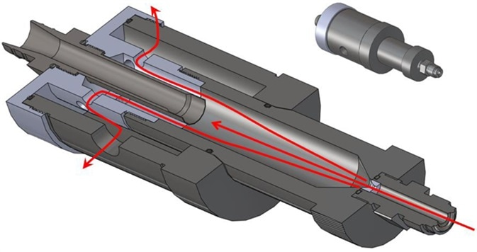 The MET ONE High Pressure Diffuser or HPD in cross section indicating the flow path to the Isokinetic sampling inlet and the exhaust.